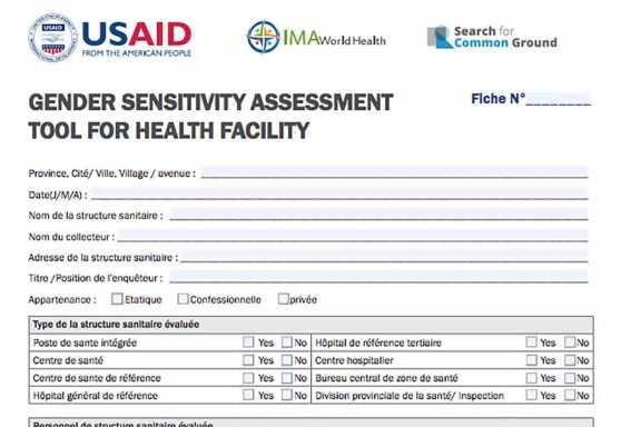 Gender sensitivity assessment tool for health facilities