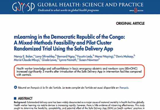 mLearning in the Democratic Republic of the Congo: A Mixed-Methods Feasibility and Pilot Cluster Randomized Trial Using the Safe Delivery App